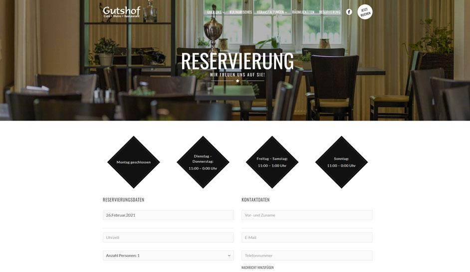 Buchungssystem Restaurant Webseite
